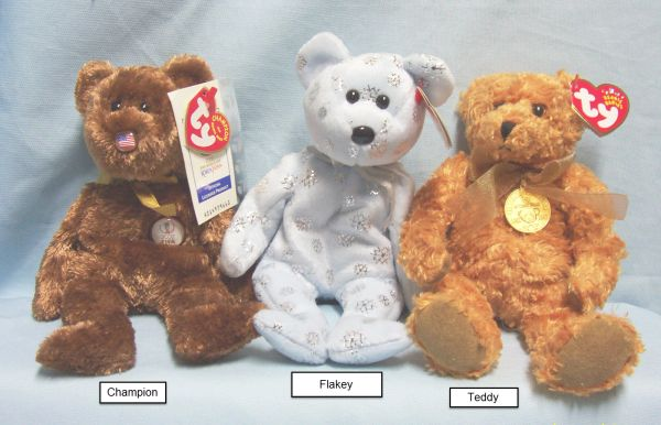 BEANIE BABIES: Ty Beanie Babies Collectible Bean Plush Bears; Champion, Flaky, Teddy