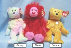 BEANIE BABIES: Ty Beanie Babies Collectible Cuddly Plush Animals; Decade, Groovy, Punkies Flame