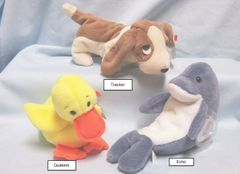 BEANIE BABIES: Ty Beanie Babies Collectible Cuddly Plush Animals; Echo, Quakers, Trackers