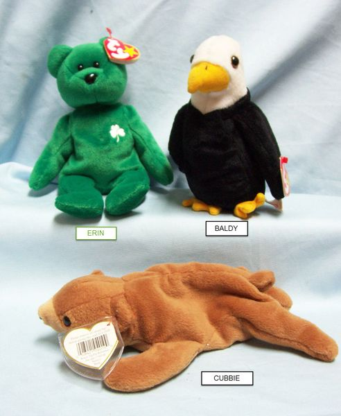 BEANIE BABIES: Ty Beanie Babies Collectible Plush Animals; BALDY, CUBBIE, ERIN
