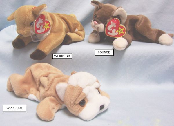 BEANIE BABIES: Ty Beanie Babies Collectible Cuddly Plush Animals; POUNCE, WHISPERS, WRINKLES