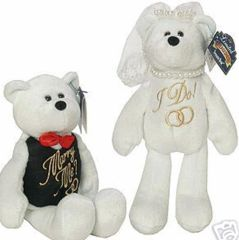 "COLLECTIBLE PLUSH BEARS: Bride ""I Do"" & Groom ""Will You Marry Me"" 9"" Plush Collectible Bears"