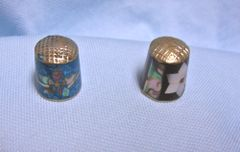 "Thimbles: Pair Mexican Silver Thimbles with Abalone Mother of Pearl 1 1/8"" tall Set 13"