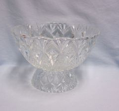 DECORATIVE BOWL: Pedestal Cut Glass Pineapple & Stars FRANCE w/Scalloped Edging