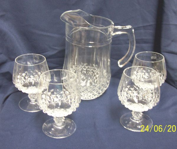 PITCHER: Longchamp D'Arques-Gurand Gorgeous Cut Glass Pitcher with (4) Brandy Glasses