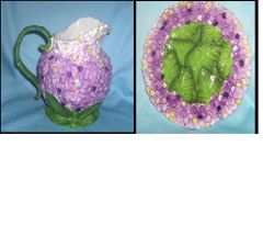 PITCHER & PLATE SET - Decorative Ceramic Pitcher & Plate Violet Design