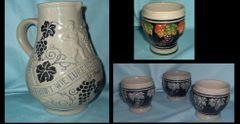 GERMAN PITCHER AND MUGS - Vintage Unique German Stoneware Pitcher Plus (4) mugs