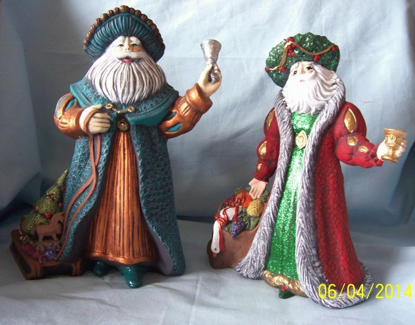"FATHER CHRISTMAS FIGURINES: Pair hand-crafted 10"" Father Christmas Figurines 1990's"