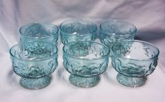 DESSERT BOWLS - (6) Vintage Anchor Hocking Glass Aquamarine Dessert Bowls