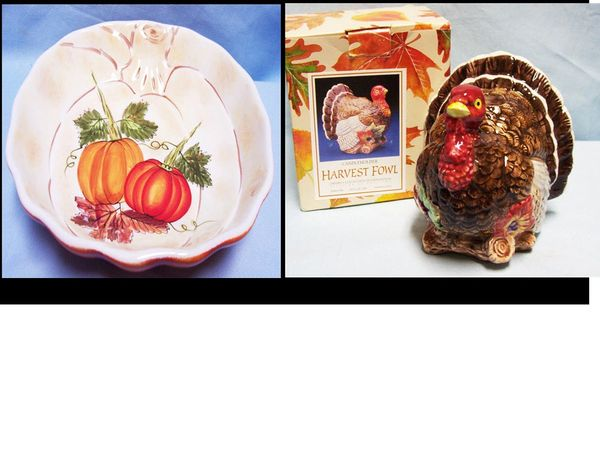 CANDLE HOLDER - Harvest Fowl Turkey Candle Holder Plus Pumpkin Candy Dish Home Decor