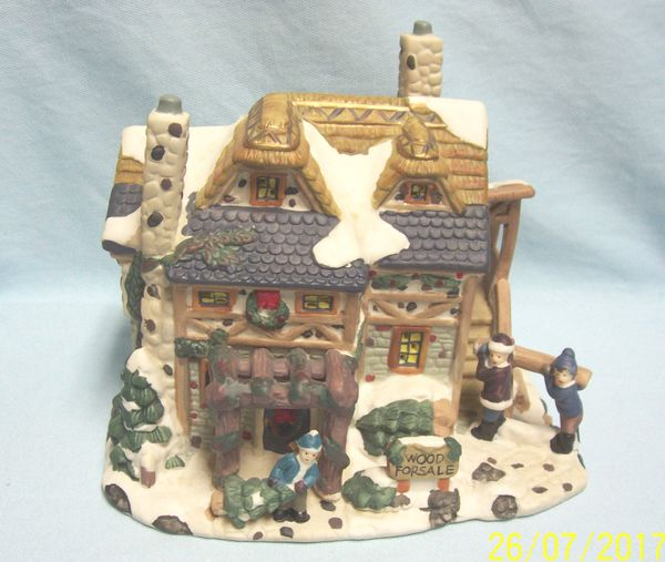 """CHRISTMAS VILLAGE BUILDING: Vintage Winter Cottage Style House Sign """"Wood for Sale"""" in Front"""