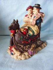 "DICKENS COLLECTIBLE: Vintage Windsor Collectible Couple in Horse Sleigh Figurine 7 3/4"" High"