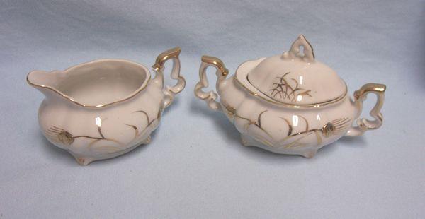 SUGAR BOWL and CREAMER - Vintage Mini Lefton China Set Wheat Pattern