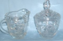 SUGAR BOWL, LID and CREAMER SET - Press Clear Glass Anchor Hocking Star of David