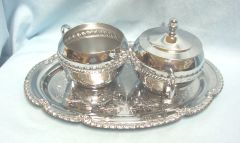 SUGAR BOWL, LID, CREAMER, and TRAY - Irvinware Chrome Plated Set USA