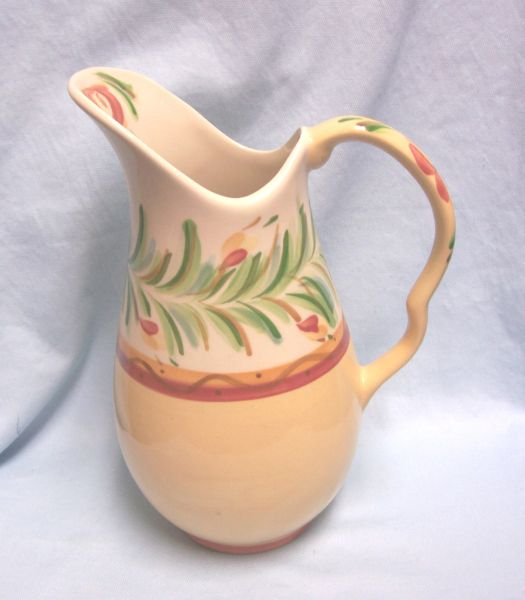 "PITCHER - Gail Pittman 80 oz. Pitcher Pattern Siena in Red/Yellow Squiggles 11 1/2"" Tall"