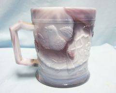 "DECORATED CUP MUG: Purple Slag Glass Mug by Imperial with Robin 3"" Diameter"