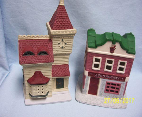 Christmas Village Buildings: Pair Vintage Unique Handcrafted Hand-painted Ceramic Village Stores 1991