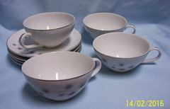 Cups & Saucers: Set of (4) China Cups & Saucers by Creative Plantium Star Burst Japan