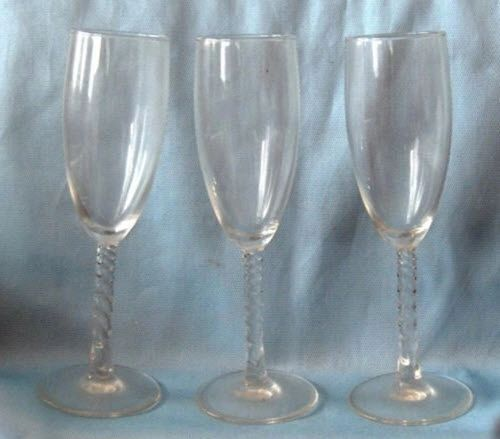 CHAMPAGNE GLASSES Set of (3) ANGELIQUE Long TWISTED STEM Clear Durand
