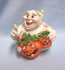 "HALLOWEEN DECORATION: Whimsical Ghost Holding two Jack- O-Lanters with Funny Faces 6"" Tall"