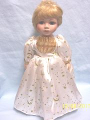 "COLLECTIBLE DOLLS: Gorgeous 14"" Collectible Porcelain 14"" Doll in Satin-like Gown and a Tiara in her Blond Hair"