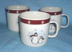 CUPS Set of (3) Stoneware Cups, Mugs Christmas Snowmen, Royal Seasons RN-1
