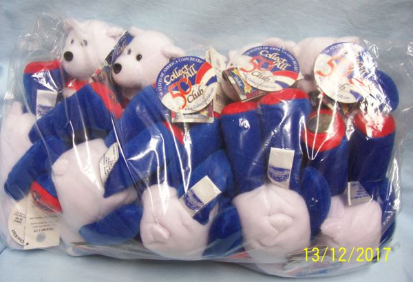 "PLUSH STATE QUARTER BEARS: 10 Discounted Limited Treasures 9"" Collectible Bears in Unopened Bag #6 Massachusetts"