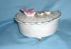 TRINKET BOX: Vintage Iridescent Trinket Box / Candy Dish by Lipper and Mann