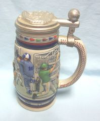 """AVON BASEBALL BEER STEIN - 1984 Baseball 8 3/4"""" Beer Stein with lid Made in Brazil"""