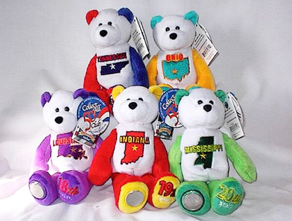 COIN BEARS 2002 Limited Treasures State Coin Collectible Plush Bears #16 - #20
