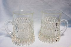 MUGS/GOBLETS: Heavy Cut Glass Mugs/Goblets with Criss Cross Diamond Pattern