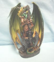 "DRAGON FIGURINE: Collectible Medieval Figurine Jade Fire Guitar Dragon Figurine/Statue 8 1/2"" Tall"
