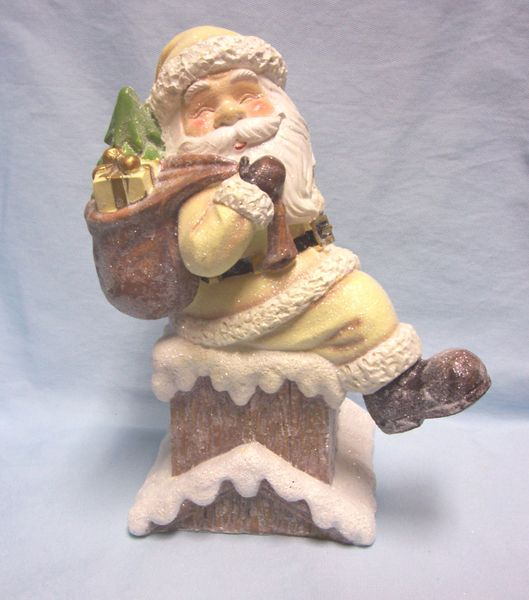 "SANTA FIGURINE: 10 1/2"" Holiday Santa in Chimney with Presents Figurine"