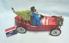 Snowman in Metal Derby Car Figurine/Tabletop Decor by Alpine Tabletop Decor