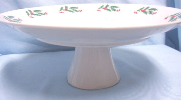 "CAKE PLATE: Holiday Pedestal 10 1/4"" Diameter Cake Stand with Holly Pattern"