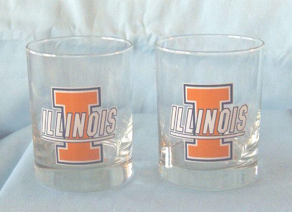 "GLASSES: Pair New Executive Illinois College Glasses 4"" Tall Heavy Dury Glass Holds 14oz Go ILLINI!!"