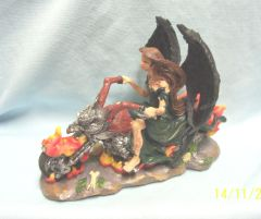 "GOTHIC FIGURINE: Gothic Black Winged Angel Biker on Fiery Bike Figurine Polyester 5 3/4"" T"