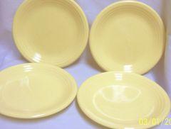 STONEWARE SALAD PLATES: Set (4) Stoneware Salad Plates Main Street Yellow by Gibson