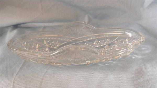 CELERY DISH: Beautiful Clear Press Glass Celery Dish by McKee Glass - Fentec