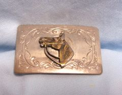"BELT BUCKLE: Vintage Silver Color Metal Belt Buckle Horse Head 2"" wide"