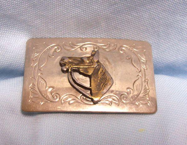 "BELT BUCKLE: Vintage Silver Color Metal Belt Buckle Horse Head 2"" wide"