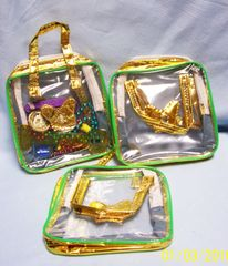 GIRLS TOYS: Set of (10) See Through Clear Pouches with Zippers and two Gold Color Straps