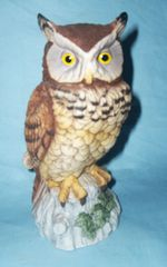 Andrea By SADEK Bird Figurine GREAT HORNED OWL Wildlife Porcelain FIGURINE 7""