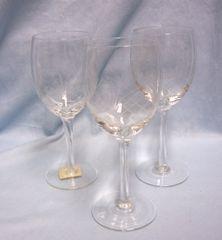 """LONG STEM GLASSES: Set (3) Long Stem 7 1/2"""" Tall Glasses with Cris-Cross Pineapple Design"""