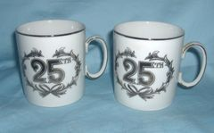 CUPS: Pair 25th Anniversary Silver Trim Cups/Mugs by Norcrest