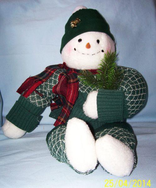 """SNOWMAN: Unique Christmas Snowman Holiday Decorations, Christmas Decor Centerpiece 12"""" H Sitting"""