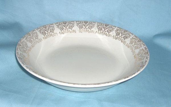 """BOWLS: Vintage Vegetable Bowl, Serving Bowl with 1"""" Gold Trim Border 9"""" Diameter"""