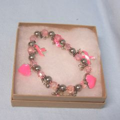 JEWELRY: Breast Cancer Awareness Stretch Bracelet with Pink Hearts & Ribbon Charms by Joycelyn Collection