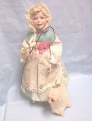 "COLLECTIBLE DOLL: Handcrafted Porcelain Collectible 14"" Doll Little Bo Peep with her Lamb"
